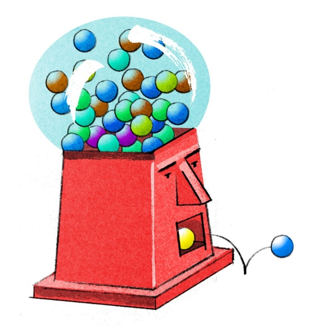 Illustration of a brain as a gumball machine
