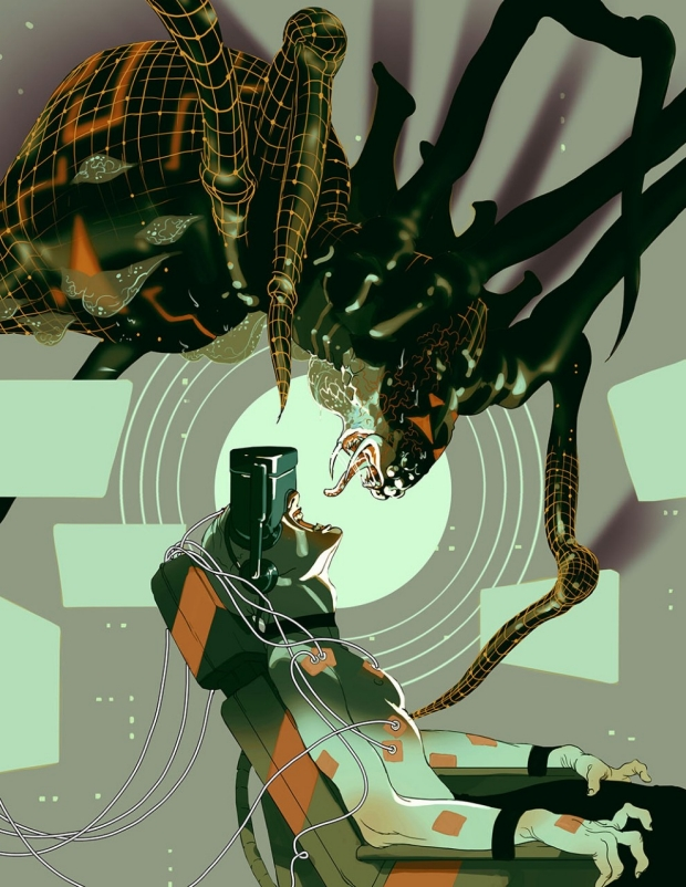Illustration of a man wearing video goggles staring up at a large spider over his chair