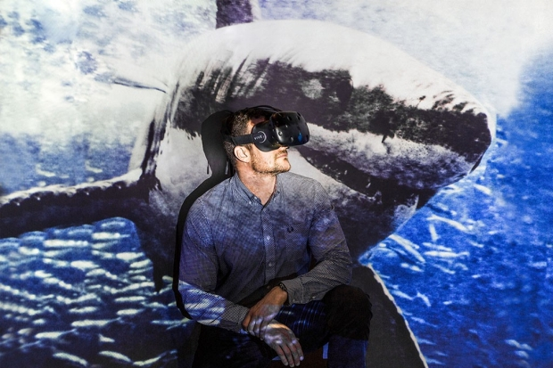 Man wearing video goggles sitting in front of an image of a great white shark