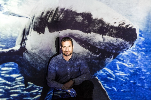Man sitting in front of a screen with a great white shark projected on it