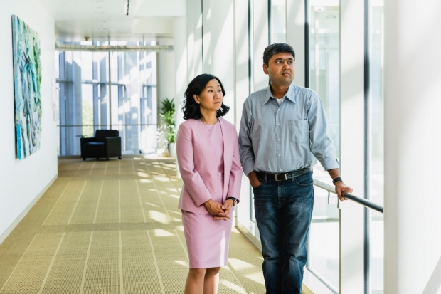 Palliative care physician Stephanie Harman, left, and informatics expert Nigam Shah. / Edward Caldwell photography