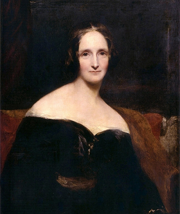 Mary Shelley photo and photo of Frankenstein novel