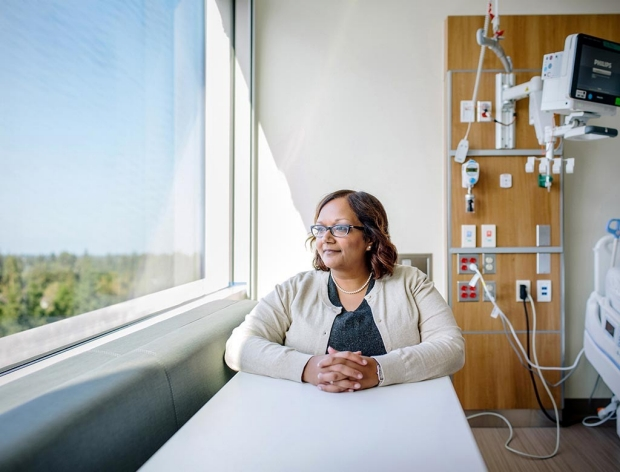 Alpa Vyas in a patient room of the new Stanford Hospital