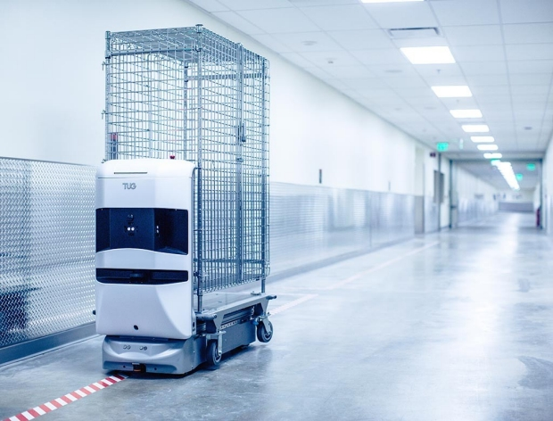 One of the robots at the new Stanford Hospital that moves materials from one place to another.