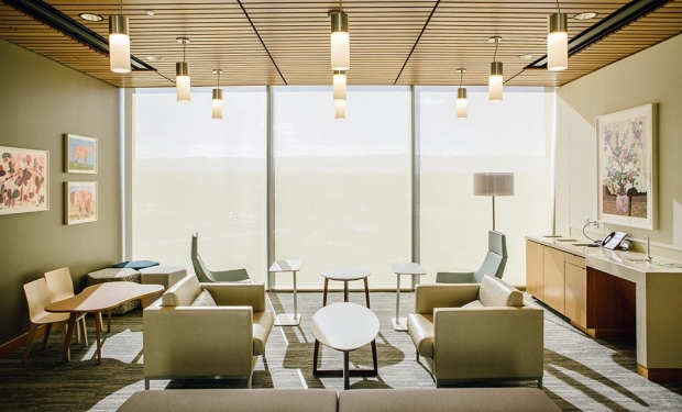 A visitor lounge at the new Stanford Hospital