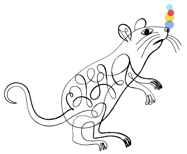 Illustration of a mouse balancing balls on his nose
