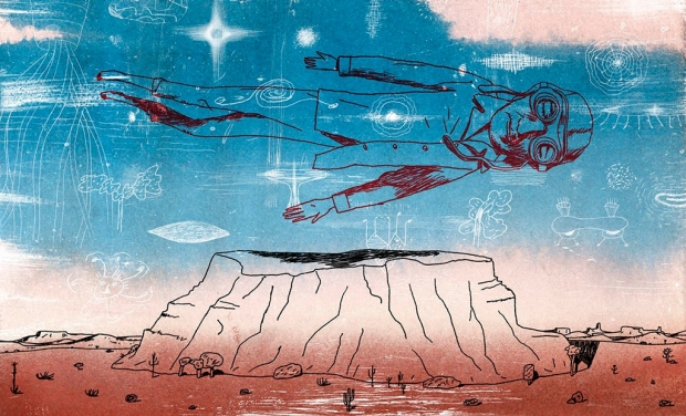 Illustration of a pilot flying over a mesa in a dream, by Jeffrey Decoster