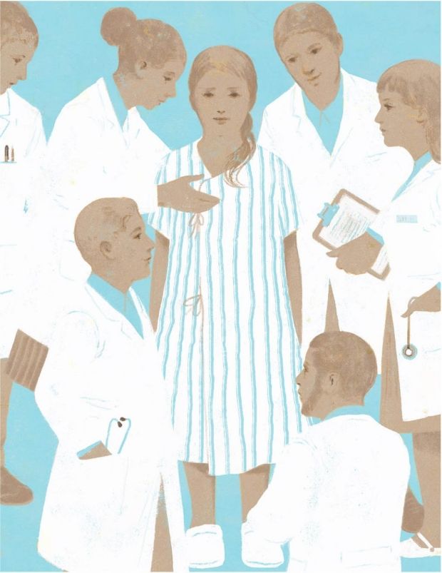 Illustration of a patient surrounded by clinicians, by Gérard Dubois