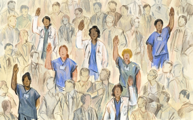 Woman clinicians raising hands. (Sally Deng illustration)