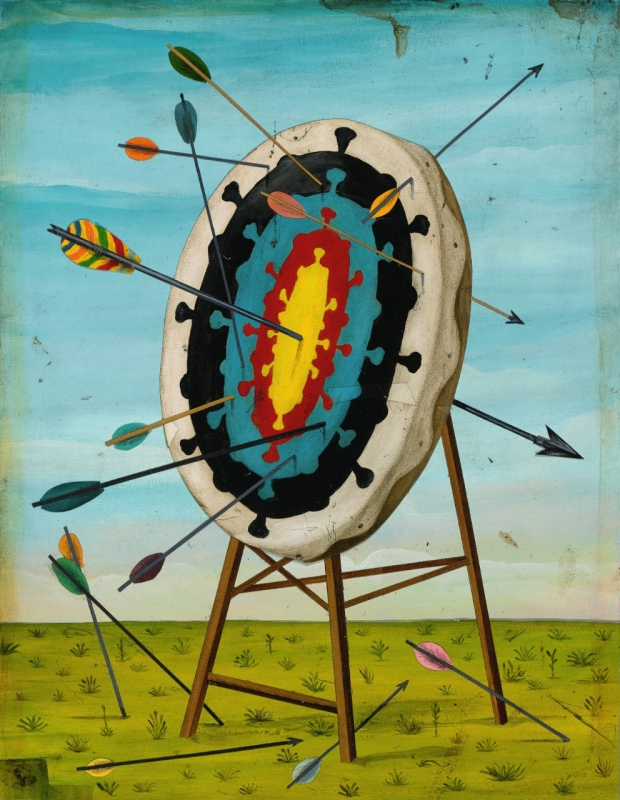 Illustration by Jason Holley of arrows that have been shot at a COVID bullseye
