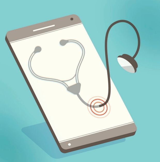 Illustration of a stethoscope coming out of a cell phone