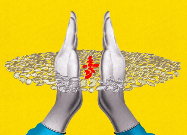 Illustration of hands keeping cells in their own lane, by Brian Stauffer