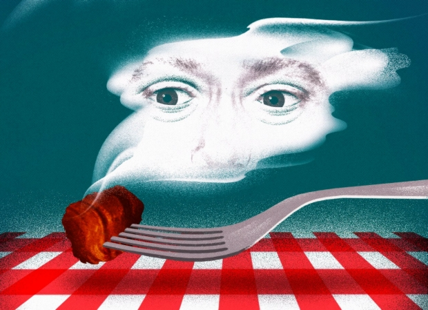 Illustraiton of a human cloud smelling barbecue, by Brian Stauffer