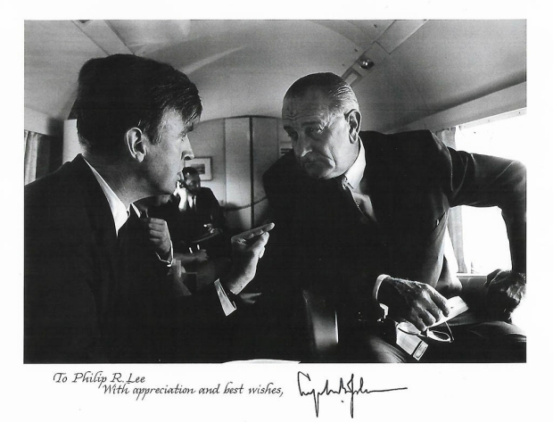Philip Lee, MD, with President Lyndon B. Johnson on Air Force 1