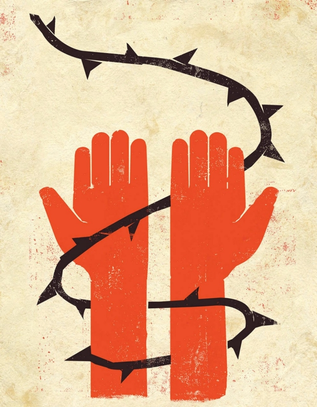Hands tied up on barbed wire Illustration by Edel Rodriguez