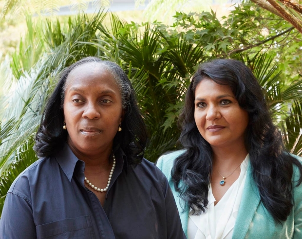 Photo of neuroscientists Odette Harris, left, and Maheen Adamson by Leslie Williamson