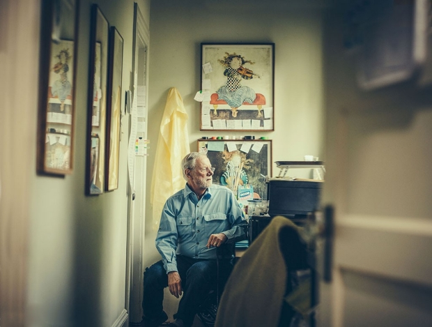 Ron Davis sitting outside his son'e room. by Timothy Archibald