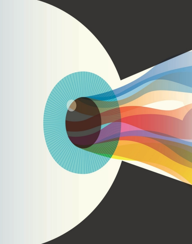 Illustration of light flowing into an eye by Harry Campbell