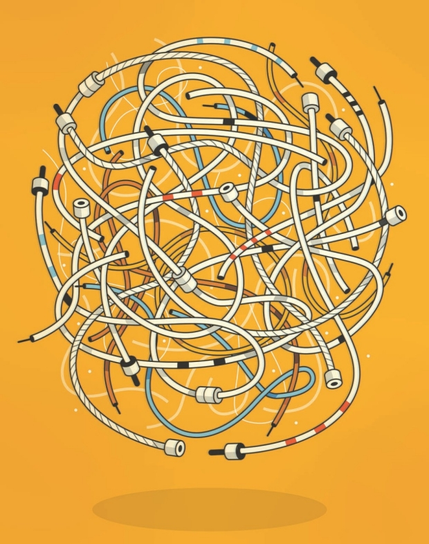 Illustration a mixed up wires representing Alzheimer's by Harry Cambell