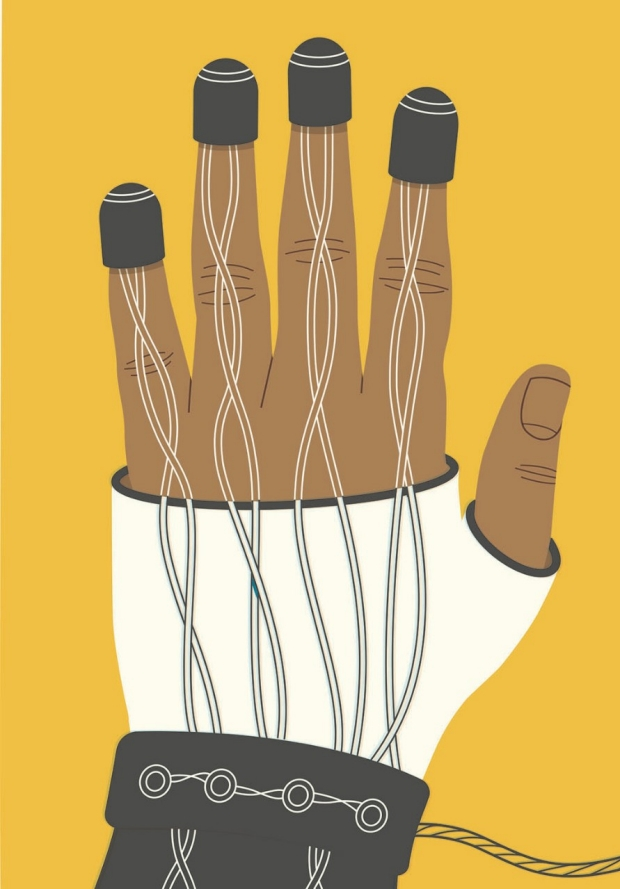 Artist's conception of a vibrating glove by Harry Campbell