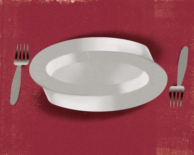 Illustration of a plate and two forks. Riki Blanco illustration