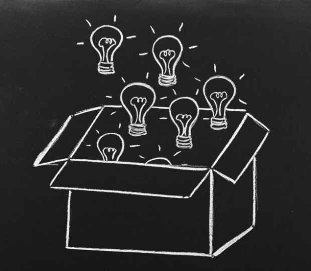 Drawing of light bulbs coming out of a box