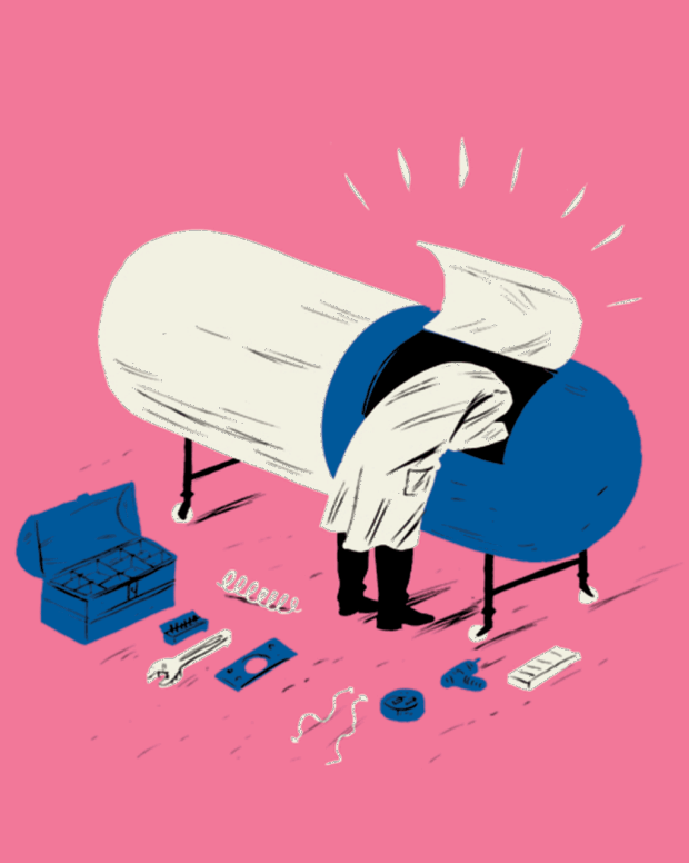 Illustration of Dr. working on a pill