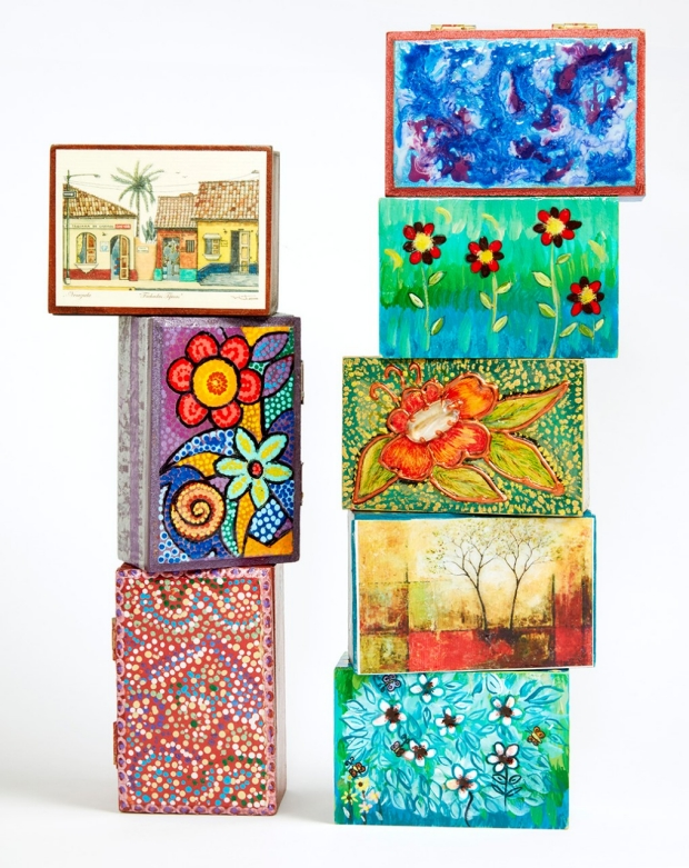 Colorful decorated boxes