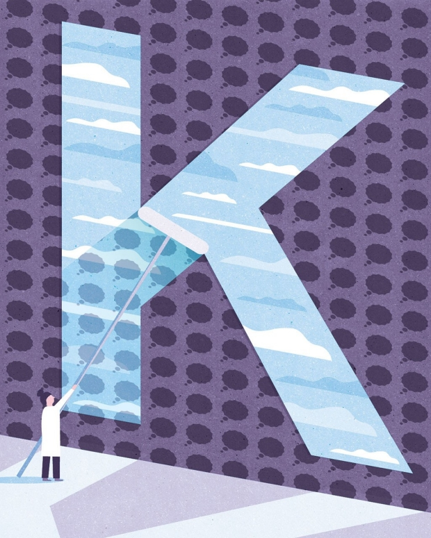 Illustration of a giant K being painted by a man in a white coat