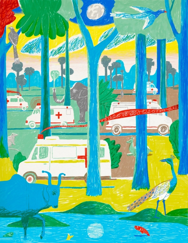 Illustration by Jeffrey Decoster of ambulances driving amid jungle animals