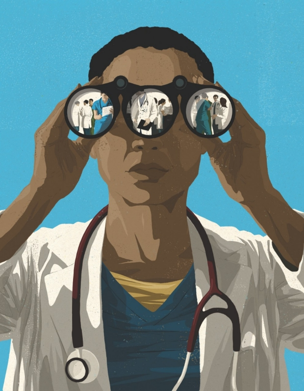 Illustration by Mark Smith of a physician looking through binoculars