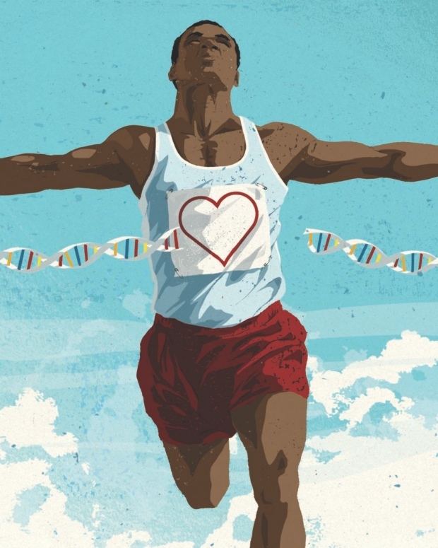 Illustration of man running across a finish line. / Mark Smith illustraiont