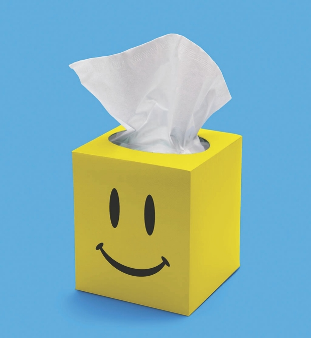 Tissue box illustration with a smiley face