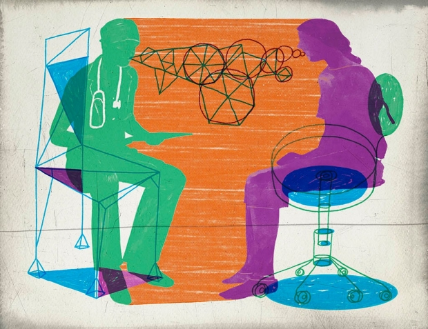 Illustration of a doctor talking to a patient, by Jeffrey Decoster