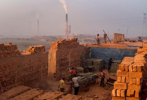 Smoke billows out of kilns in Bangladesh