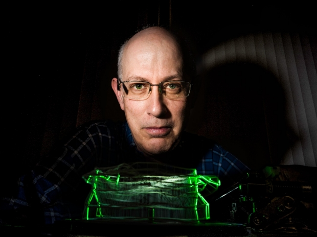 Scientist with his data sculpture (Photography by Max Aguilera-Hellweg)