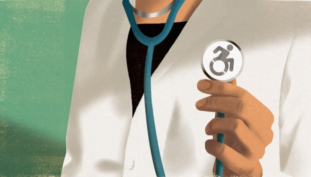 Illustration by Riki Blanco of a female doctor wearing a stethoscope