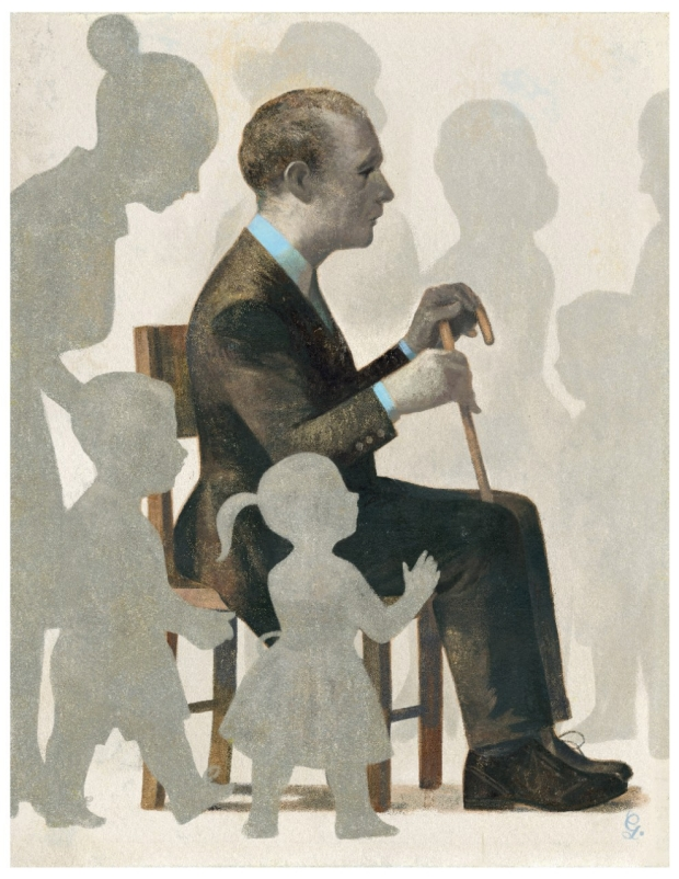 Man sitting in chair with people around him who are grayed out to indicate he can't hear them. Illustration by Gérard DeBois